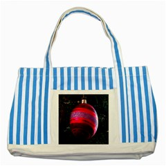Glass Ball Decorated Beautiful Red Striped Blue Tote Bag