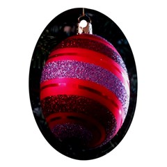 Glass Ball Decorated Beautiful Red Oval Ornament (Two Sides)