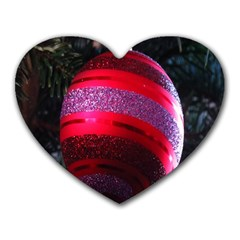 Glass Ball Decorated Beautiful Red Heart Mousepads
