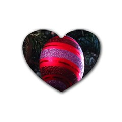 Glass Ball Decorated Beautiful Red Rubber Coaster (Heart)