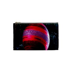 Glass Ball Decorated Beautiful Red Cosmetic Bag (Small)
