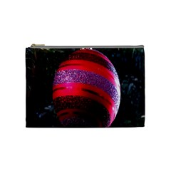 Glass Ball Decorated Beautiful Red Cosmetic Bag (Medium)