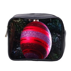 Glass Ball Decorated Beautiful Red Mini Toiletries Bag 2-Side