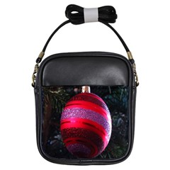 Glass Ball Decorated Beautiful Red Girls Sling Bags
