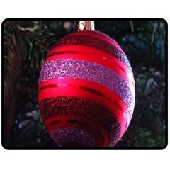 Glass Ball Decorated Beautiful Red Fleece Blanket (Medium)