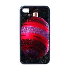Glass Ball Decorated Beautiful Red Apple iPhone 4 Case (Black)
