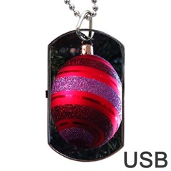Glass Ball Decorated Beautiful Red Dog Tag USB Flash (One Side)