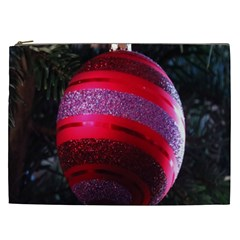 Glass Ball Decorated Beautiful Red Cosmetic Bag (xxl)