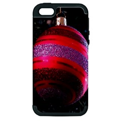 Glass Ball Decorated Beautiful Red Apple Iphone 5 Hardshell Case (pc+silicone)