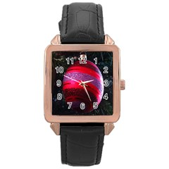 Glass Ball Decorated Beautiful Red Rose Gold Leather Watch