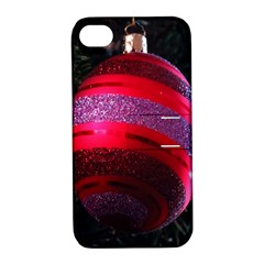Glass Ball Decorated Beautiful Red Apple Iphone 4/4s Hardshell Case With Stand
