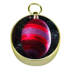 Glass Ball Decorated Beautiful Red Gold Compasses