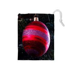 Glass Ball Decorated Beautiful Red Drawstring Pouches (medium)