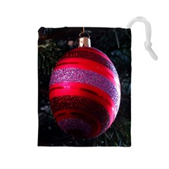 Glass Ball Decorated Beautiful Red Drawstring Pouches (large)