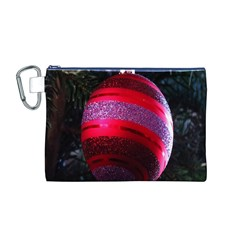 Glass Ball Decorated Beautiful Red Canvas Cosmetic Bag (M)