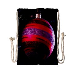 Glass Ball Decorated Beautiful Red Drawstring Bag (Small)