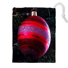 Glass Ball Decorated Beautiful Red Drawstring Pouches (XXL)