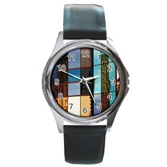 Glass Facade Colorful Architecture Round Metal Watch