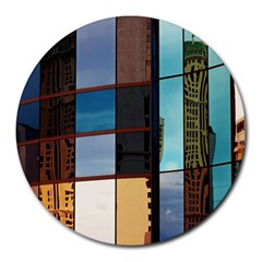 Glass Facade Colorful Architecture Round Mousepads