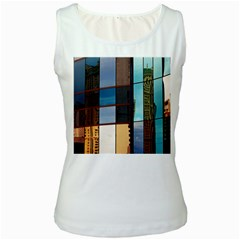 Glass Facade Colorful Architecture Women s White Tank Top