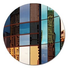 Glass Facade Colorful Architecture Magnet 5  (Round)
