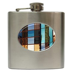 Glass Facade Colorful Architecture Hip Flask (6 oz)