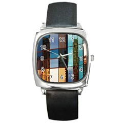 Glass Facade Colorful Architecture Square Metal Watch
