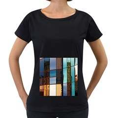 Glass Facade Colorful Architecture Women s Loose-Fit T-Shirt (Black)