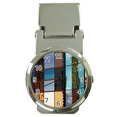 Glass Facade Colorful Architecture Money Clip Watches