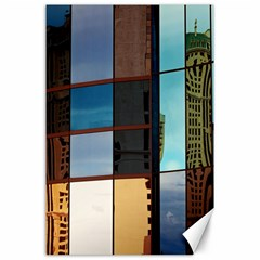 Glass Facade Colorful Architecture Canvas 24  x 36