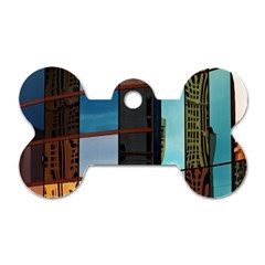 Glass Facade Colorful Architecture Dog Tag Bone (One Side)