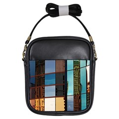 Glass Facade Colorful Architecture Girls Sling Bags