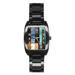 Glass Facade Colorful Architecture Stainless Steel Barrel Watch