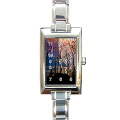 Full Moon Forest Night Darkness Rectangle Italian Charm Watch
