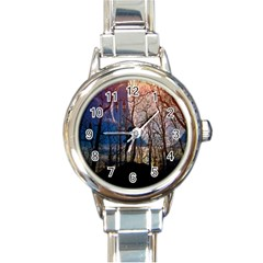 Full Moon Forest Night Darkness Round Italian Charm Watch