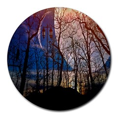 Full Moon Forest Night Darkness Round Mousepads