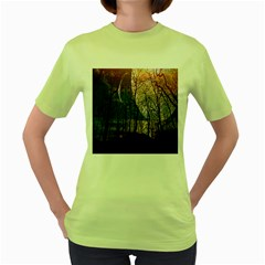 Full Moon Forest Night Darkness Women s Green T-Shirt