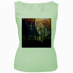 Full Moon Forest Night Darkness Women s Green Tank Top