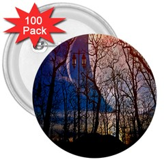 Full Moon Forest Night Darkness 3  Buttons (100 pack)