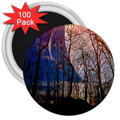 Full Moon Forest Night Darkness 3  Magnets (100 pack)
