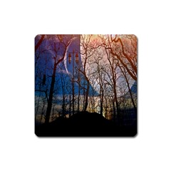 Full Moon Forest Night Darkness Square Magnet