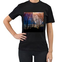 Full Moon Forest Night Darkness Women s T-Shirt (Black) (Two Sided)