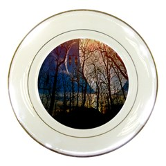 Full Moon Forest Night Darkness Porcelain Plates
