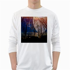 Full Moon Forest Night Darkness White Long Sleeve T-Shirts