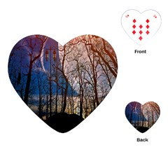 Full Moon Forest Night Darkness Playing Cards (heart)