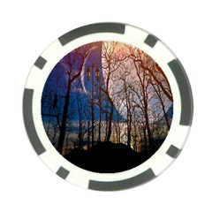 Full Moon Forest Night Darkness Poker Chip Card Guard