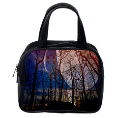 Full Moon Forest Night Darkness Classic Handbags (One Side)