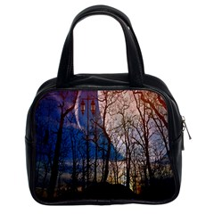 Full Moon Forest Night Darkness Classic Handbags (2 Sides)
