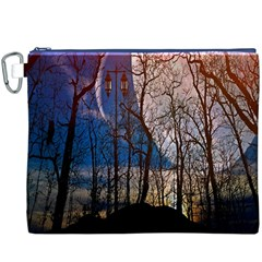 Full Moon Forest Night Darkness Canvas Cosmetic Bag (XXXL)