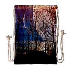 Full Moon Forest Night Darkness Drawstring Bag (Large)